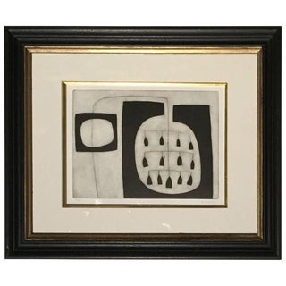 Abstract Black and White Etching by English Artist Oliver Gaiger, Contemporary