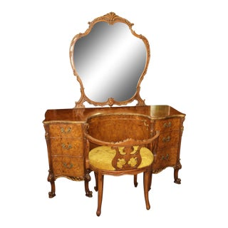 French Provincial Louis XV Vanity & Stool Set, Burl Acacia Wood