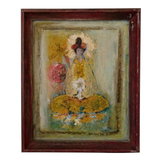 Vintage Japanese Geisha Woman Sitting With Lantern Oil Painting