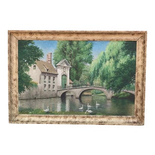 Vintage European Landscape Swans in Lake Oil Painting