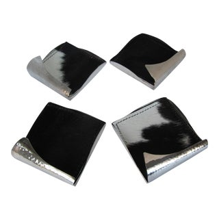 Silverplate and Cowhide Coasters-Set of 4