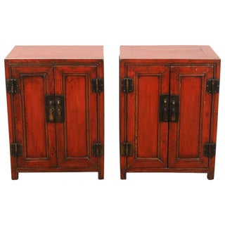 18th Century Pair of Cinnabar Lacquer Side Cabinets