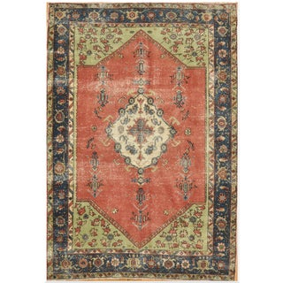 Vintage Distressed Hand-Knotted Rug - 5′3″ × 6′11″