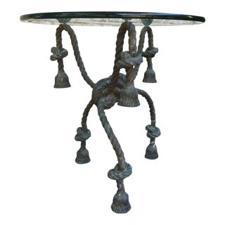 Important Detailed Bronze Tasseled Rope Table or Gueridon