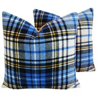 Blue Scottish Tartan Plaid Wool Pillows - Pair
