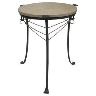 French Wrought Iron and Partially Gilt Side Table