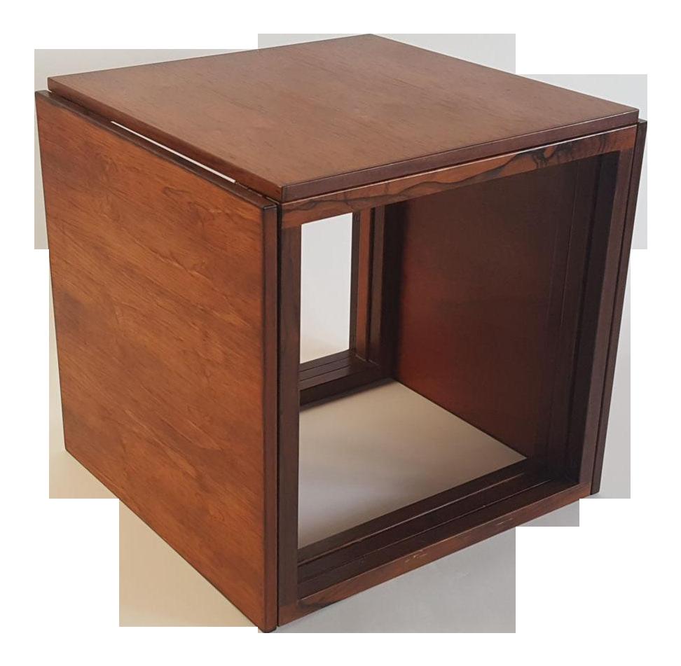 Danish Modern Rosewood Cube Nesting Tables   Set Of 3