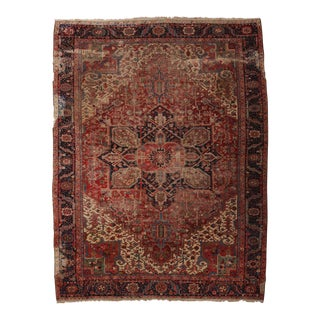 Distressed Persian Heriz Rug - 10' X 13'1""