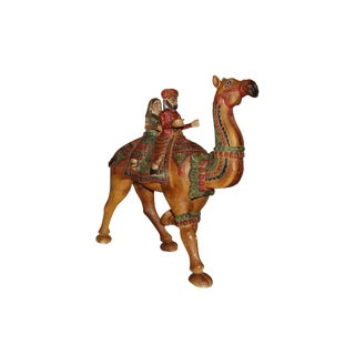 Wooden Carved Hand Painted Big Camel With Riders