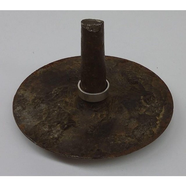 WWI Solid Iron Nail Head Art Ring Holder - Image 2 of 9