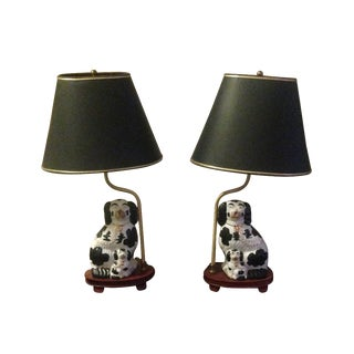 Vintage Staffordshire Spaniel Dog Lamps - A Pair