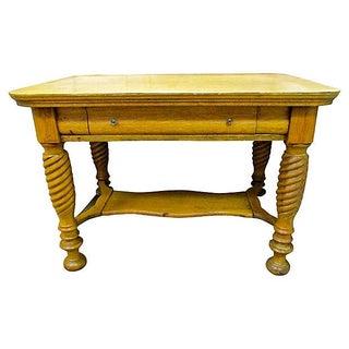 Antique Oak Table/Desk With Spindle Legs