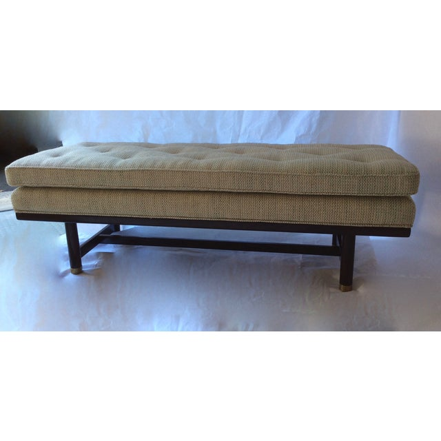 Mid-Century Modern Tufted Walnut Bench - Image 8 of 10