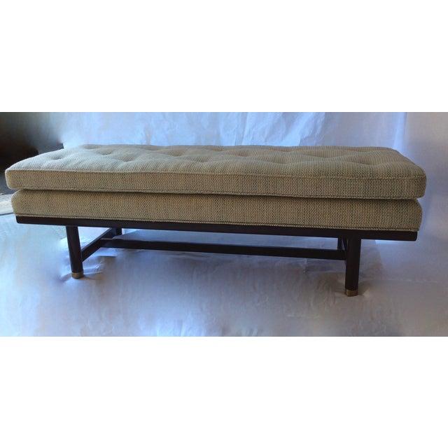 Image of Mid-Century Modern Tufted Walnut Bench