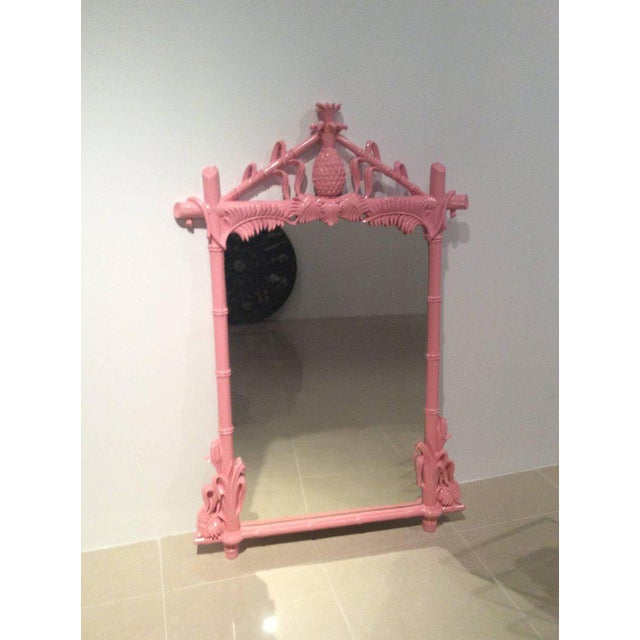 Gampel & Stoll Lacquered Flamingo Pink Faux Bamboo Wall Mirror - Image 7 of 10