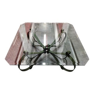 Ornate Square Iron & Beveled Glass Coffee Table