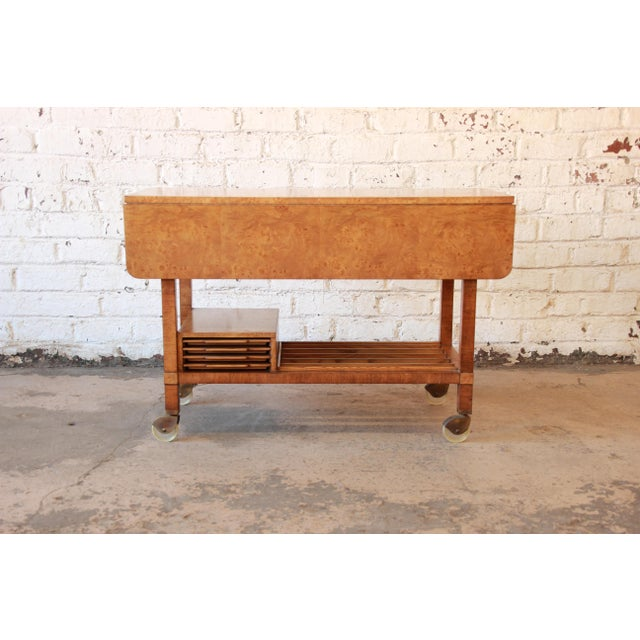 Bernhard Rohne for Mastercraft Burled Olive Wood Bar Cart - Image 4 of 11
