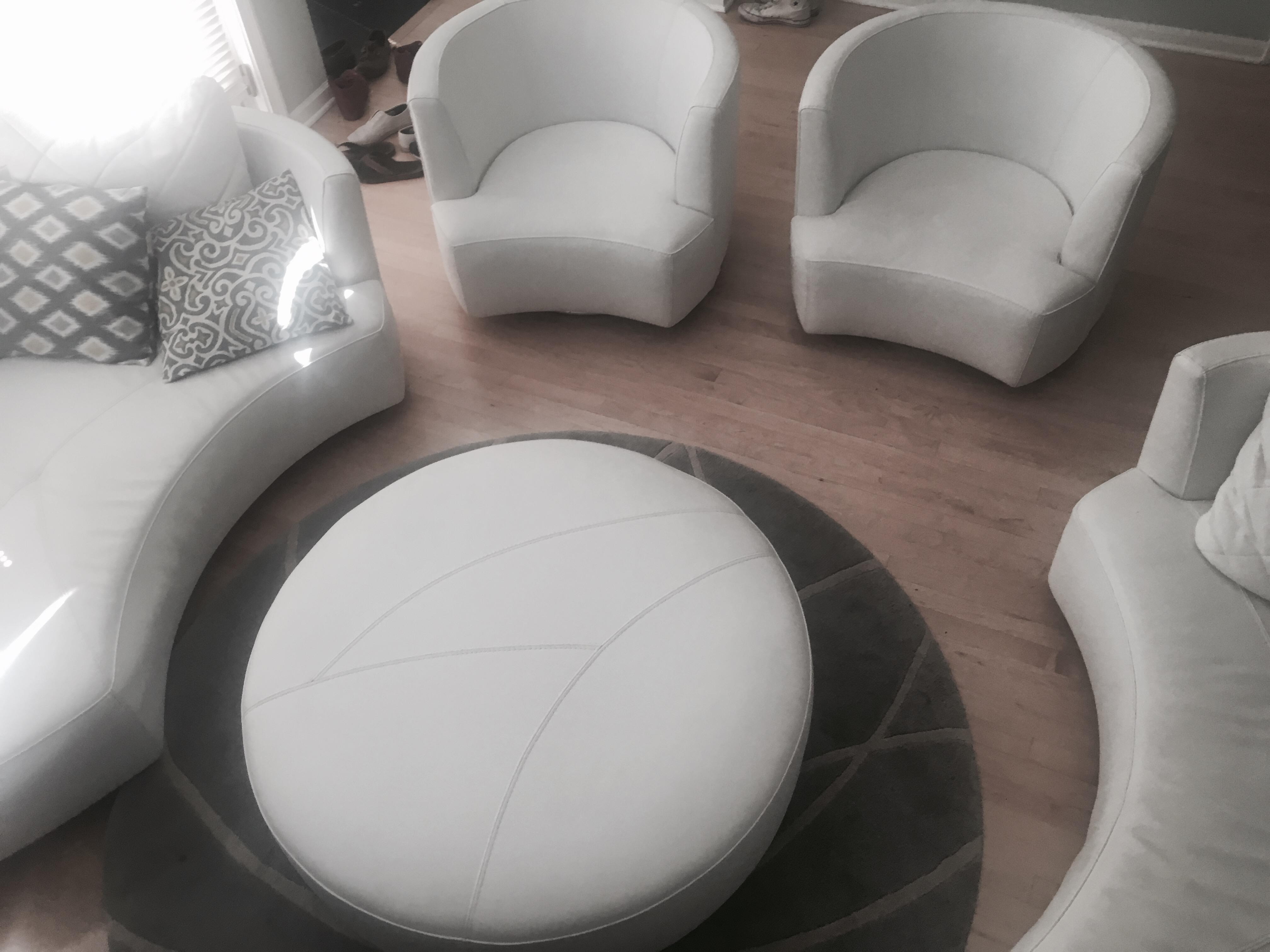 roche bobois white leather ottoman image 3 of 3