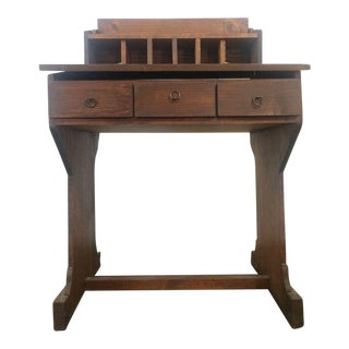 Craftsman Style Carved & Stained Oak Lift Top Work Desk