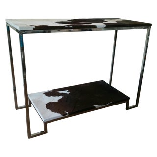 Modern Stainless Steel & Cowhide Console