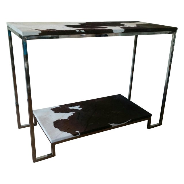 Modern Stainless Steel & Cowhide Console - Image 1 of 2