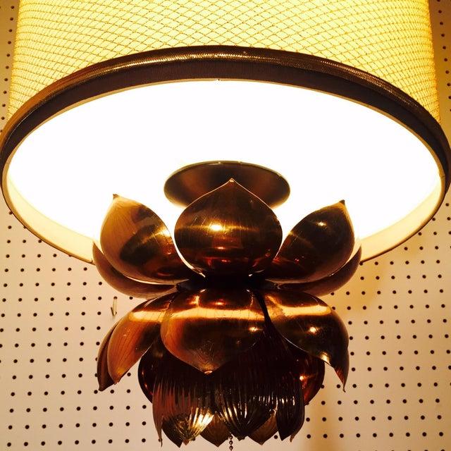 Feldman Brass Lotus Flower Hanging Drum Lamp - Image 4 of 8