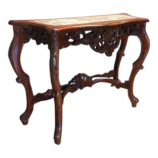 Wooden Italian-Rococo Style Console W/ Marble Top