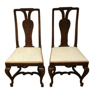 Pair of Antique Adams Style Painted Slip Seat Chairs
