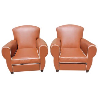 1940s Vintage French Art Deco Club Chairs - a Pair