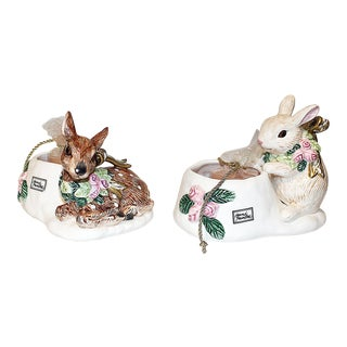 Fitz & Floyd Rabbit & Deer Candle Holders - A Pair