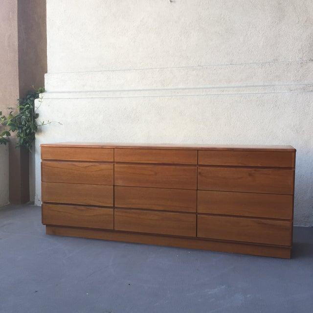 Image of Danish 12-Drawer Teak Minimalist Dresser