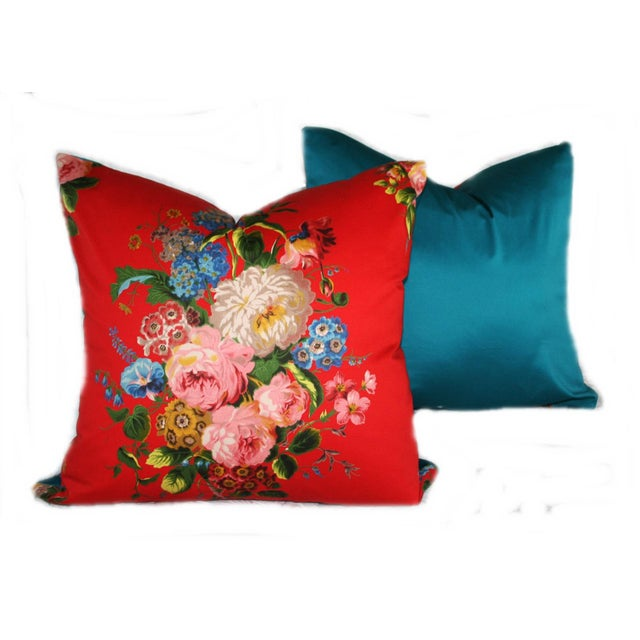 Vintage Red Floral Pillow - Image 2 of 4