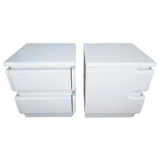 White Lacquer Night Stands by Rougier - Pair