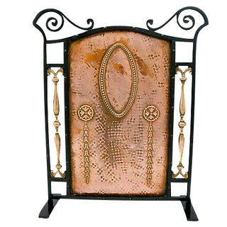 Antique Arts & Crafts Copper Fireplace Screen