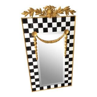 Vintage Black & White Tiled Mirror