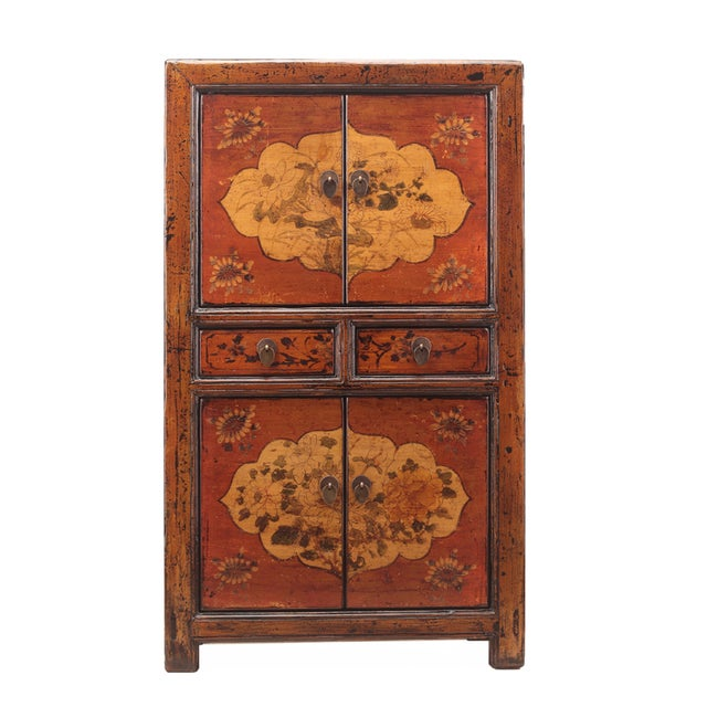 Chinese Rustic Orange Two Shelves Flower Cabinet - Image 1 of 5
