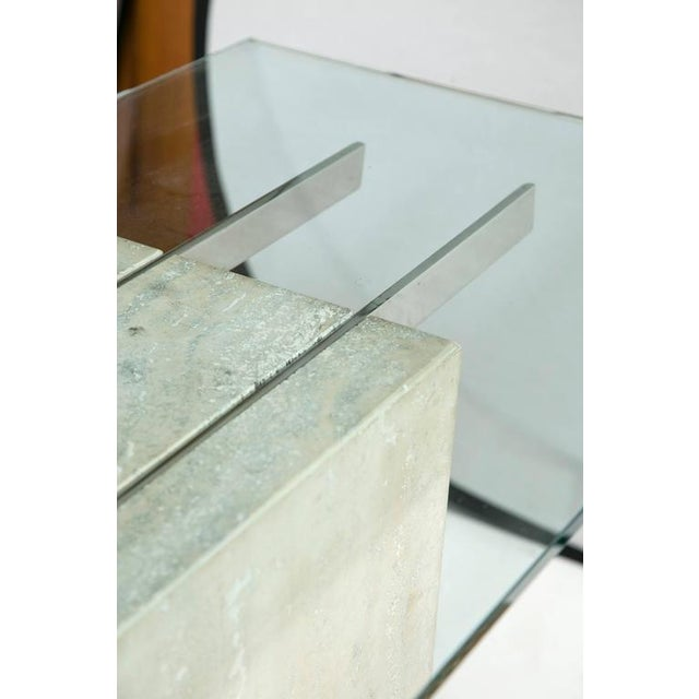 Travertine and Chrome Console Table by Ello Furniture - Image 3 of 8