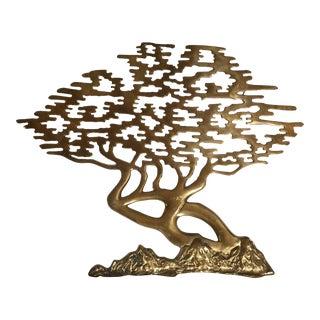 Mid-Century Asian Brass Bonsai Tree - Sculptural Wall Art