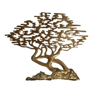 Mid-Century Asian Brass Bonsai Tree - Sculptural Wall Art