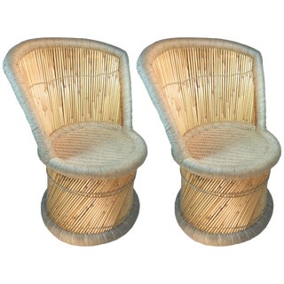 Reed & Jute Accent Chairs - A Pair