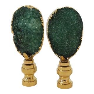 Emerald Green Geode & 14kt Gold Finials - A Pair