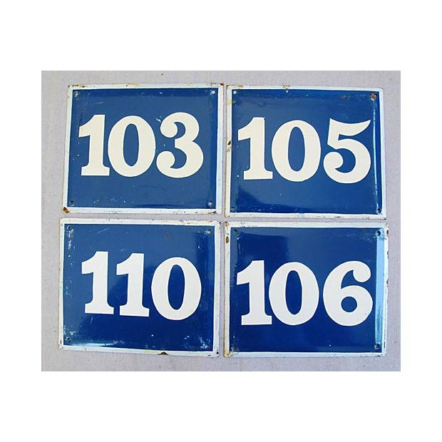 French Enameled Number Plaques - Set of 4 - Image 2 of 4