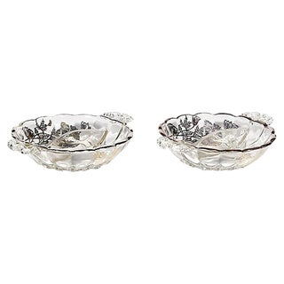 Floral Silver Overlay Divided Dishes - A Pair