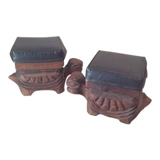 Vintage Carved Wood Turtles Garden Stands Stools Ottomans - a Pair