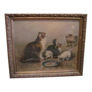 Antique Belgian Cat Painting