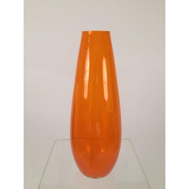 Orange Hand Blown Glass Vase - Image 6 of 8