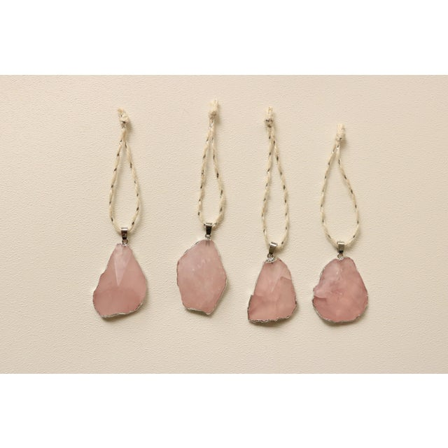 Silver Gilded Rose Quartz Christmas Ornaments - S/8 - Image 3 of 5