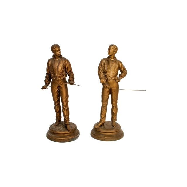 Image of Antique French Charles Masse Fencing Figures - Two