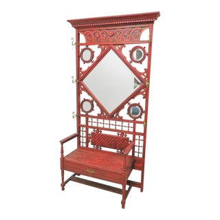 Victorian Carved Stick & Ball Red Hall Rack