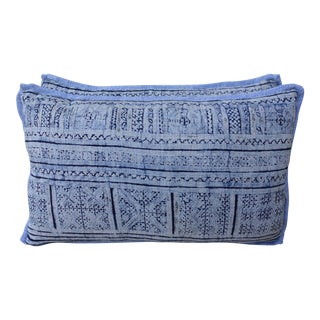 Navy & Light Blue Batik Pillows - A Pair